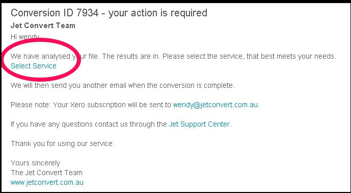 myob email select service