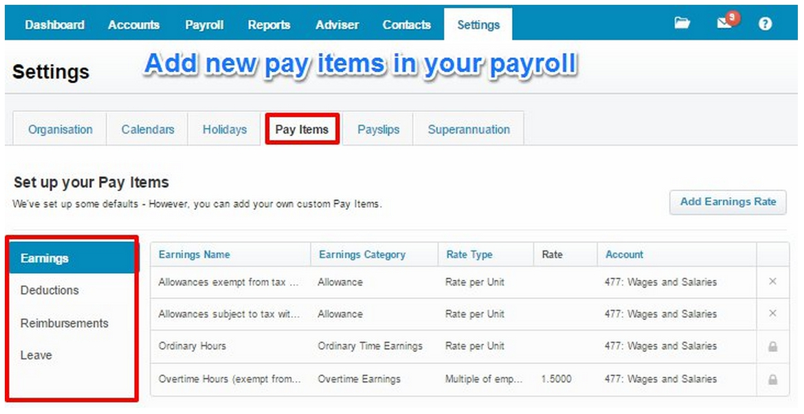 Add new pay items in your payroll