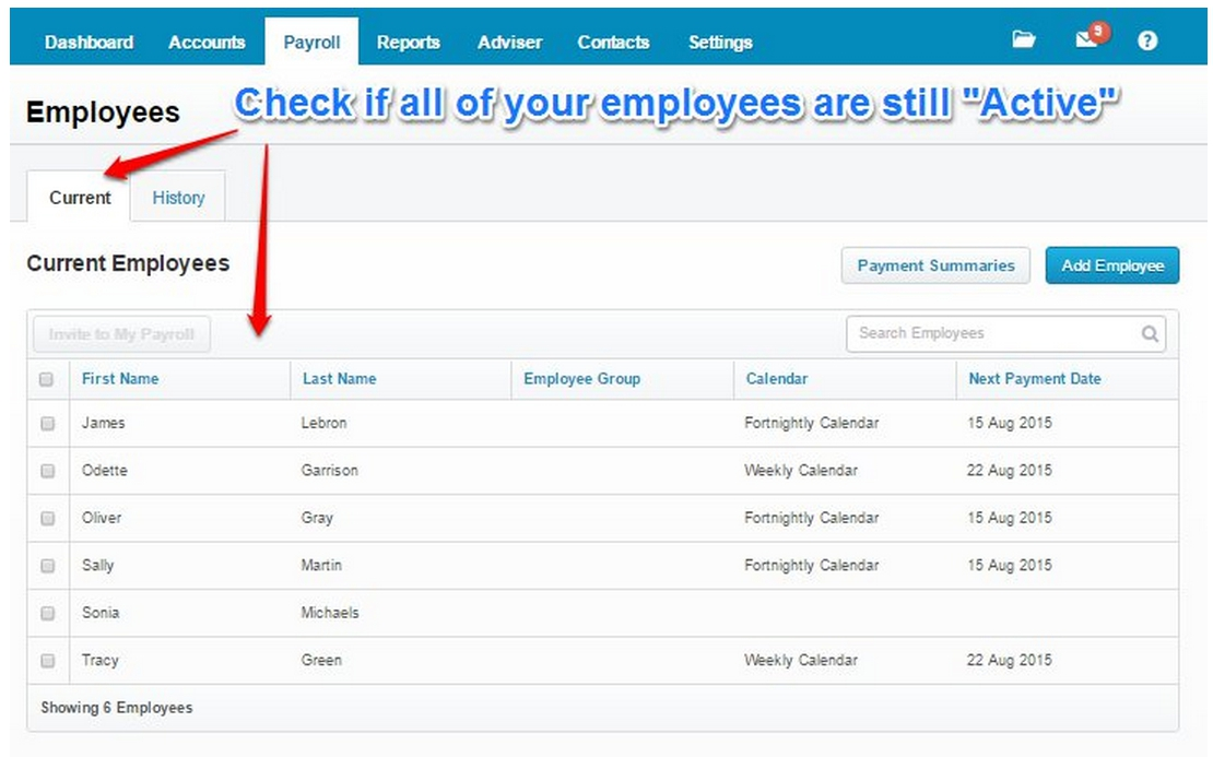Check all your employees are still Active