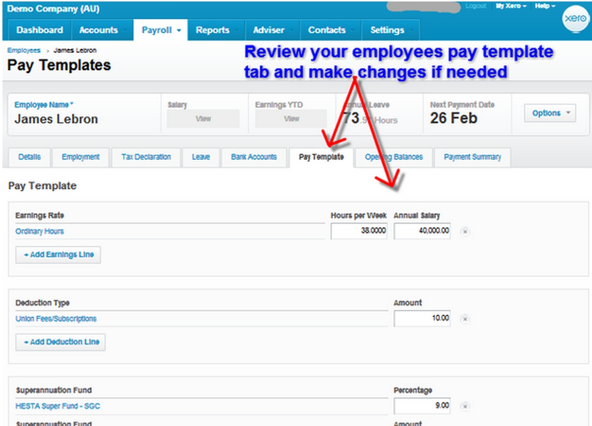 Review your employees pay template