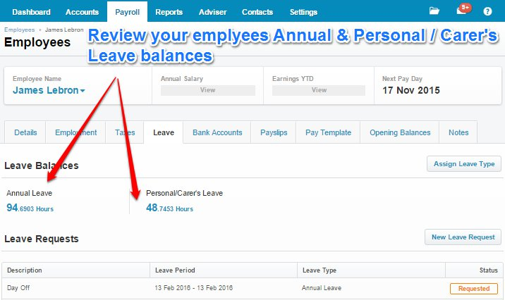 Review Employees Leave Balances
