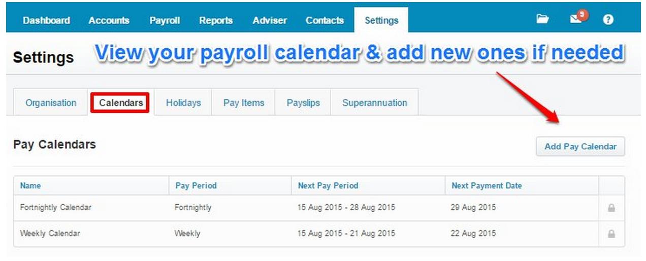 View your payroll calendar